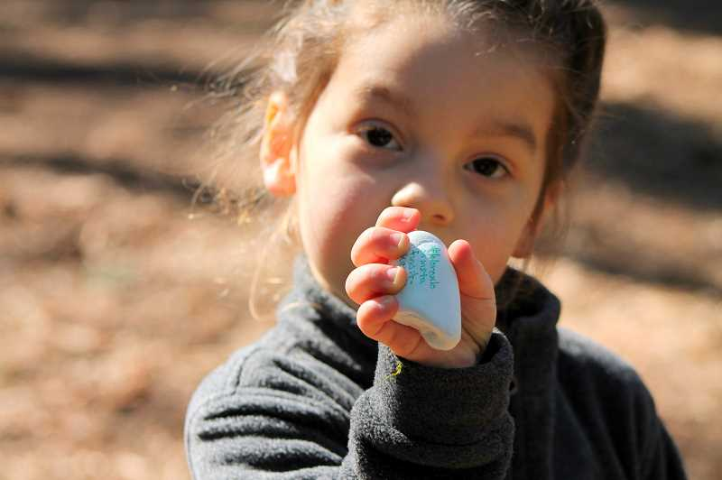 PHOTO: HOLLY BARTHOLOMEW - A girl shows off a rock left for her by Elsa from Disney's Frozen that she found while walking around Mary S. Young Park with her mom.
