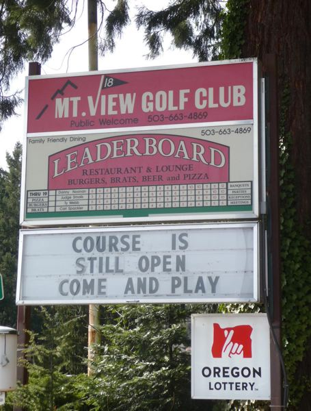 PMG PHOTO: TIFFANEY O'DELL - The sign at Mountain View Golf Course in Boring welcomes players to the links.