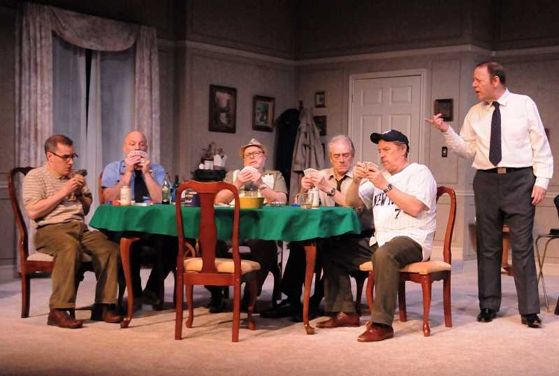 From left are March Schwahn (Vinnie), Todd Hermanson (Murray), Danny Bruno (Speed), Gary Powell (Roy), Don Alder (Oscar) and Grant Byington (Felix) in Lakewood Theatre Companys The Odd Couple.