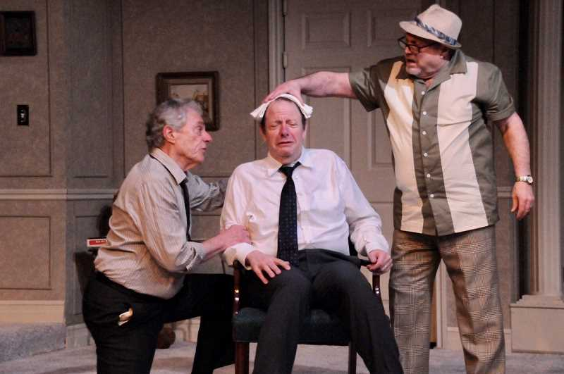 From left are Gary Powell (Roy), Grant Byington (Felix) and Danny Bruno (Speed) in Lakewood Theatre Companys production of The Odd Couple.