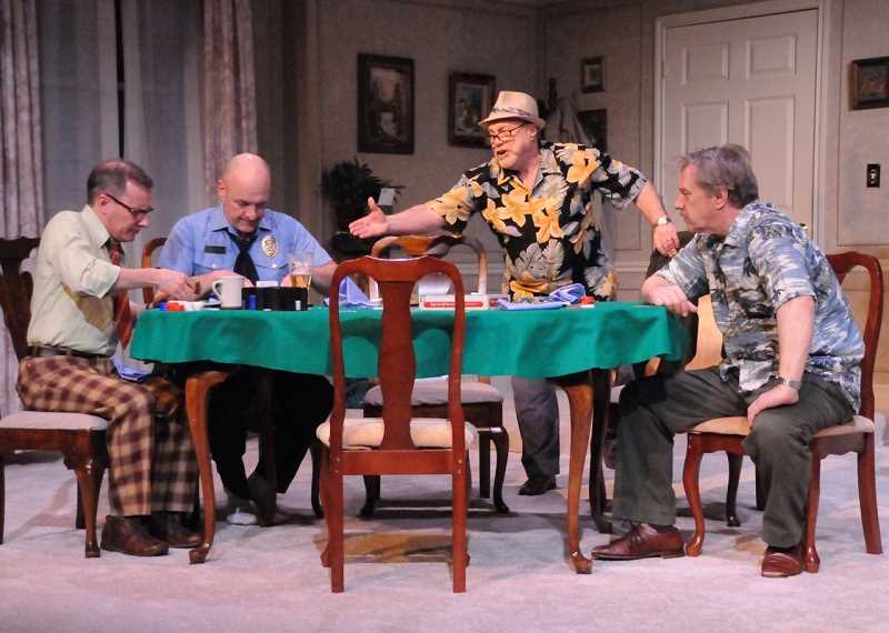 From left as Mark Schwahn (Vinnie), Todd Hermanson (Murraya), Danny Bruno (Speed) and Don Adler (Oscar) in Lakewood Theatre Companys production of The Odd Couple.