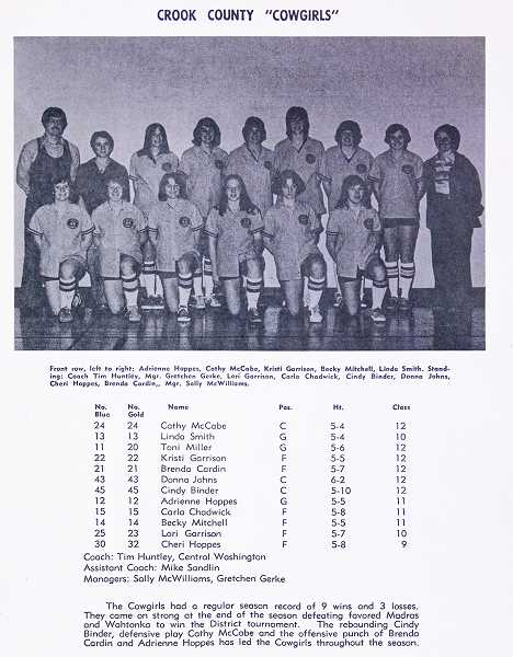 A copy of the Crook County page of the 1976 State Basketball Tournament. Toni Miller is pictured in the front row on the far left, but is not listed in the text directly under the photo.