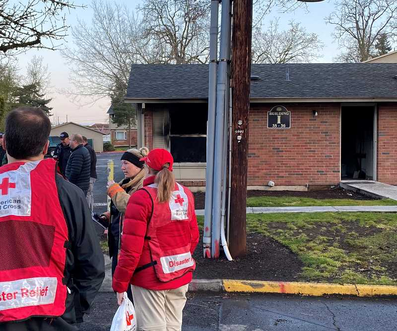 PHOTO COURTESY: CCSO - American Red Cross officials arrived in Oak Grove to provide disaster relief to the four residents displaced.