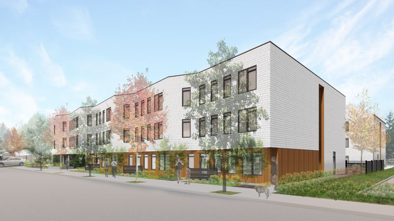RENDERING COURTESY OF SCOTT EDWARDS ARCHITECTURE - The design of Cascadia Behavorial Healthcares planned apartment building at Southeast 164th Avenue and Powell Boulevard would reduce access to two small businesses.