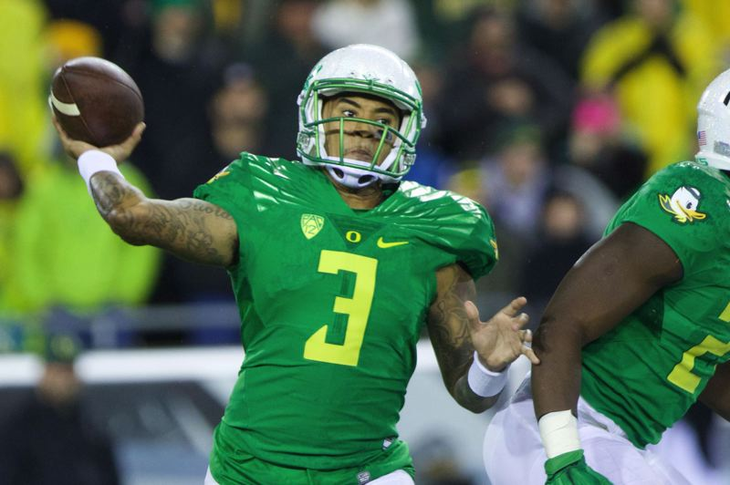 PMG FILE PHOTO: JAIME VALDEZ - Oregon quarterback Vernon Adams Sr. passes against Cal.