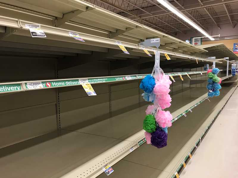 COURTESY PHOTO: JEN LANGFORD - Reader Jen Langford shared this photo of a nearly empty Safeway aisle.