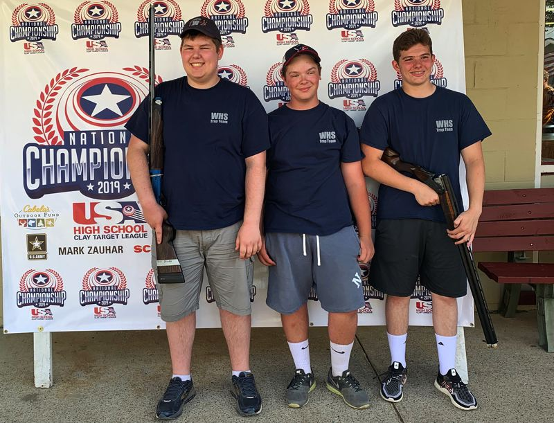 COURTESY PHOTO - Wilsonville trap shooters Josh Bowen, A.J. Bovee and Jack Murrill are all back after competing at nationals last summer.