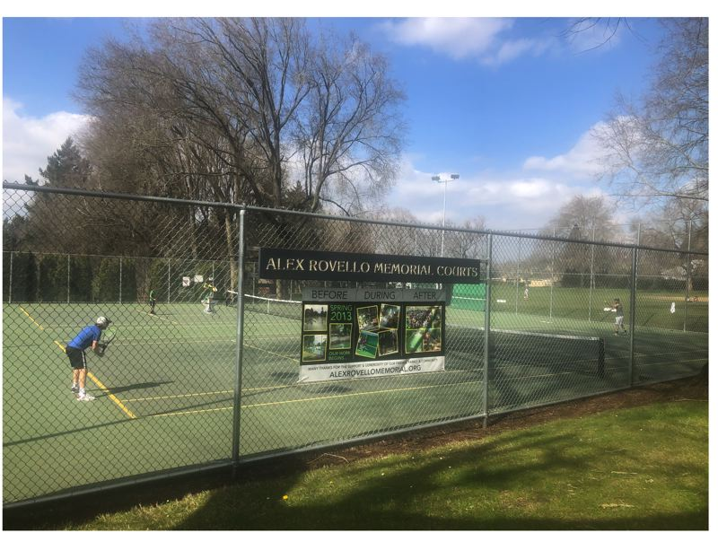 PMG PHOTO: STEVE BRANDON - On a sunny day last week, tennis players get in some sets at the Alex Rovello Memorial Courts in Southeast Portland's Berkeley Park.