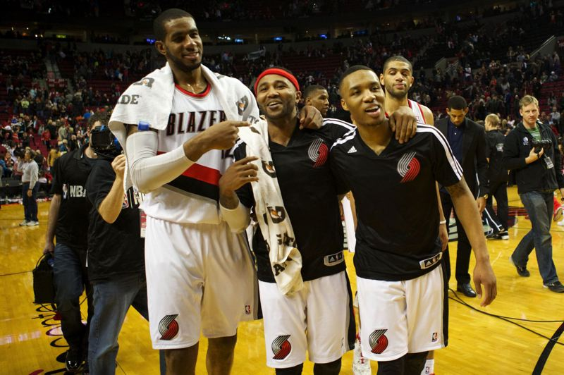 PMG FILE PHOTO: JAIME VALDEZ - Trail Blazers (from left) LaMarcus Aldridge, Mo Williams, Damian Lillard and Nicolas Batum walk off the Moda Center court after a victory.