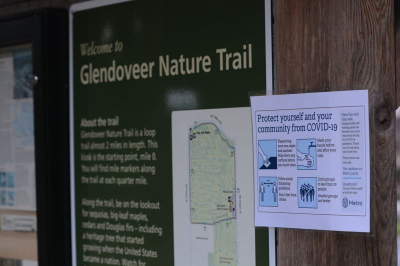 PMG PHOTO: DAVID BALL - A list of COVID-19 social distancing requirements has been posted at the main trail head of Glendoveers two-mile fitness trail.
