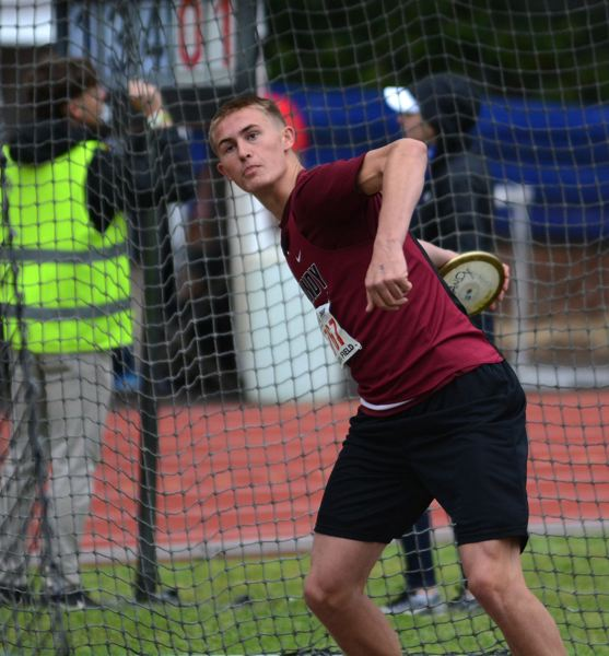 PMG PHOTO: DAVID BALL - Sandys Tanner Brewster prepares to release a throw in the discus during last years state meet at Mt. Hood CC.