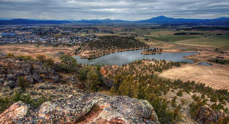 LON AUSTIN/CENTRAL OREGONIAN - Looking northwest across Hudspeth Pond from the top of Barnes Butte. Everywhere you look from the summit is a great view.