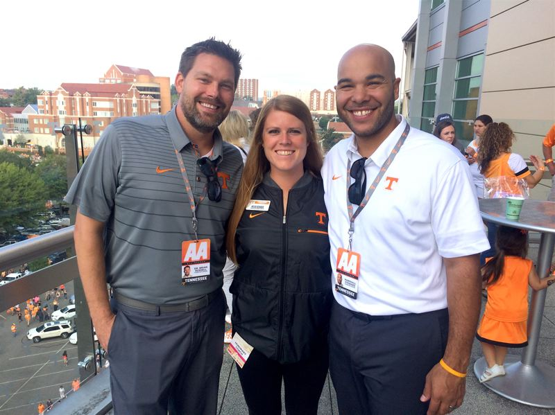COURTESY PHOTO - Kelsi Schaer is here with Marshall Steward (right), who is the Executive Director of Academics at the Thornton Athletics Student Life Center, and Dr. Brian Russell, who was the previous Director of Academics at the Thornton Athletics Student Life Center.