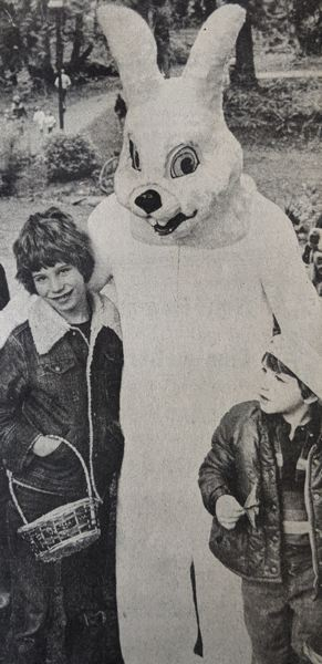 PMG FILE PHOTO - This time 40 years ago, children were anxiously awaiting a visit from the Easter bunny in Sandy. The furry fellow was scheduled to visit Meinig Park the Saturday preceding the holiday.