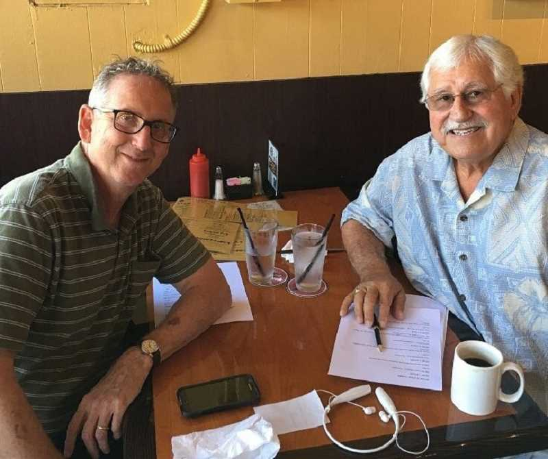 COURTESY PHOTO - At left is PDG Lion Bert Diamond of the District 36-O Sight and Hearing Task Force with Lake Oswego Lion Dane Parreira. Diamond won the 50/50 Pot of Gold raffle the Lions Club held to benefit District 36-O Sight and Hearing Task Force.
