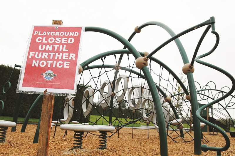 GRAPHIC PHOTO: GARY ALLEN - While many CPRD parks are open, all playground structures will be closed until further notice in Newberg and Dundee.