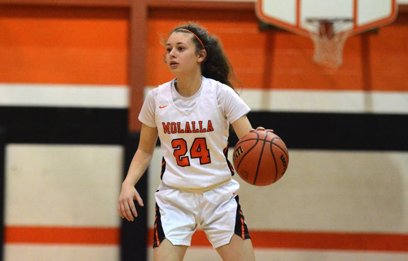 PMG PHOTO: DEREK WILEY - Molalla's Zoe Wood dribbles the ball up the court during the 2019-20 season.