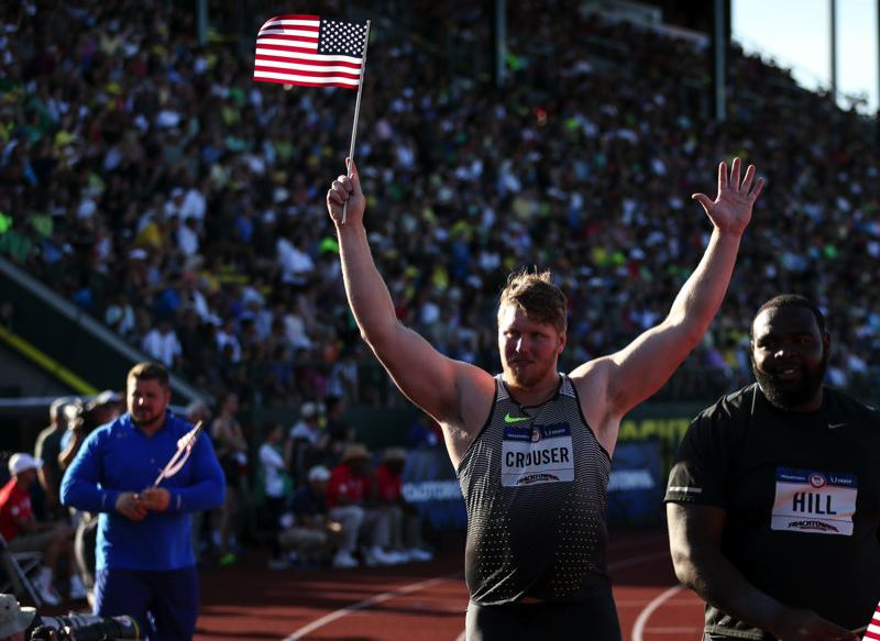 COURTESY FILE PHOTO: DAVID BLAIR - Ryan Crouser, acknowledging the Hayward Field fans after winning the 2016 Olympic Trials, has his sights set on the world record in the shot put.