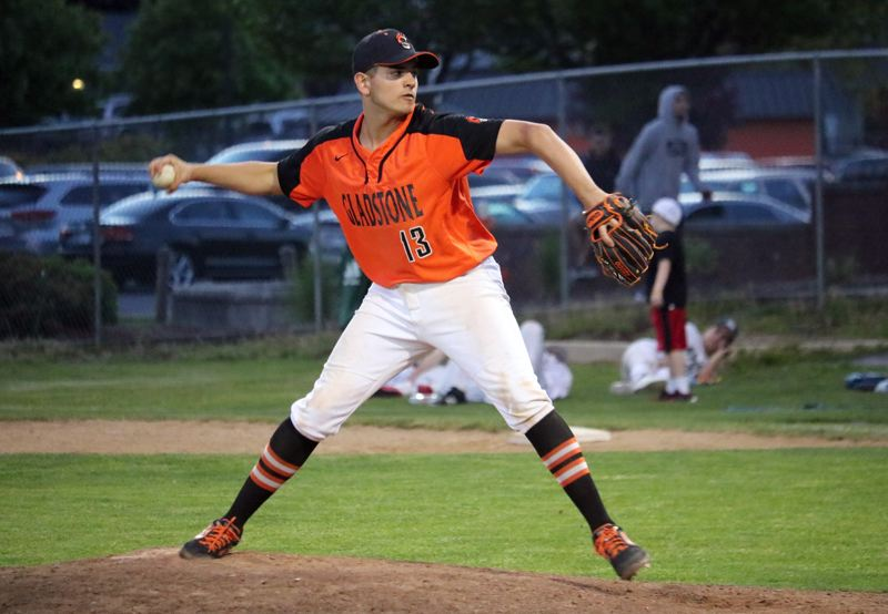 PMG PHOTO: JIM BESEDA - Gladstone pitcher Mateo Burgos and the rest of the Gladiators may still have sometehing to play for this spring after the OSAA's Executive Board decided Wednesday to stay the course, for now.