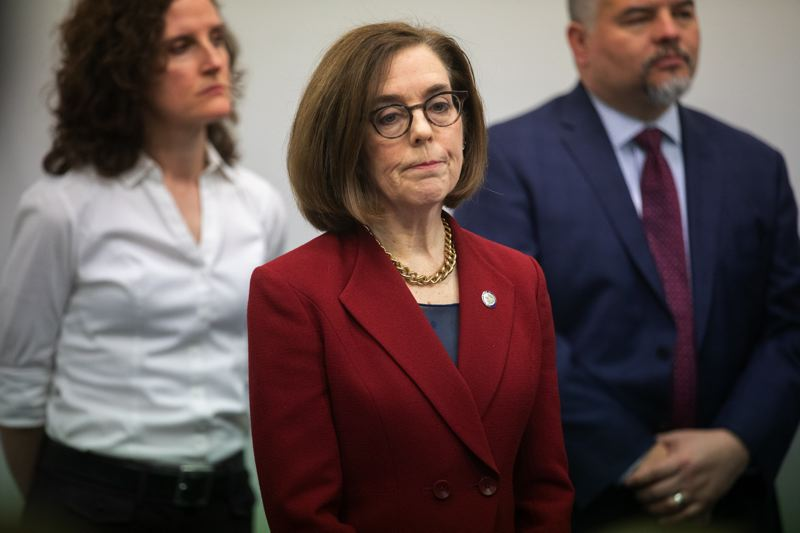 PMG FILE PHOTO - Oregon Gov. Kate Brown gives an update at a press conference in March.