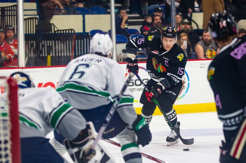 COURTESY FILE PHOTO: PORTLAND WINTERHAWKS/MATT WOLFE - Portland Winterhawks 2019-20 captain Johnny Ludvig looks to shoot against the Seattle Thunderbirds.