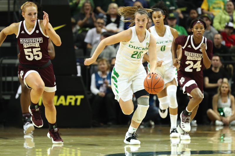 PMG FILE PHOTO: JAIME VALDEZ - Oregon's Sabrina Ionescu, leading the offense for the Ducks, has been named winner of the Wade Trophy fo the 2019-20 season.