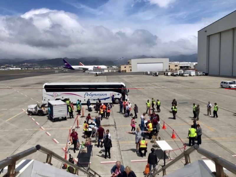 COURTESY PHOTO: BRIGITTE LUU - Passengers of the Norwegian cruise ship Jewel were finally able to board a plane in Honolulu.