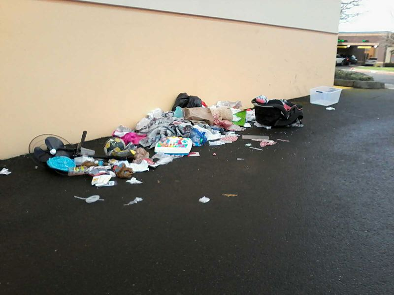 COURTESY PHOTO: GOODWILL INDUSTRIES OF THE COLUMBIA WILLAMETTE - This 'donation' was left outside the Gresham Goodwill store this week. The nonprofit now has to clean up this mess and dispose of the ruined items. And, it does not accept car seats.
