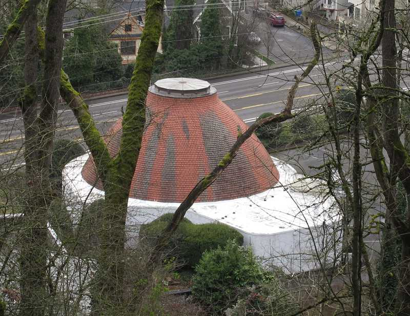 PMG PHOTOS: BILL GALLAGHER - This photo was taken from a trail through the Terwilliger Wildlands. An inclined elevator would ascend from Southwest Gibbs Street. The Congregation Ahavath Achim synagogue would probably have to be demolished, according to TriMet.