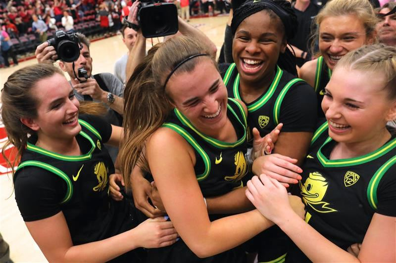 PMG PHOTO: JAIME VALDEZ - Sabrina Ionescu and her Oregon teammates continue to have reason to celebrate as the awards pile up.