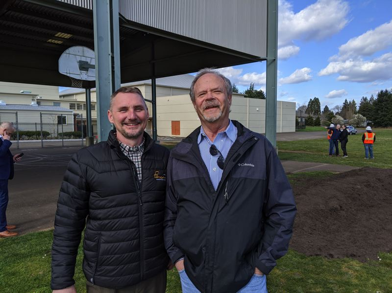 PMG: JOSEPH GALLIVAN - C.A. White, project executive (left) and Carl Schrank, project manager, of the contractor LGC Pence Construction, say the Gardiner Middle School should be a smooth build with plenty of staging room, and will be finished  by August 2021.