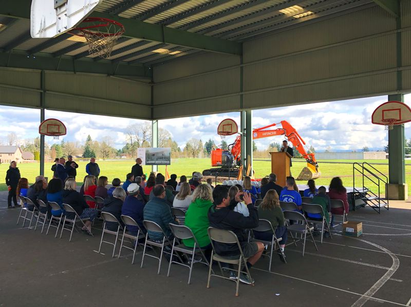 COURTESY: BRIC ARCHITECTURE - Gardiner Middle School broke ground recently on what could be one of the last large school building projects for a while in the Portland region. Stakeholders assembled under the protected play area to hear speeches about Oregon City's bond.