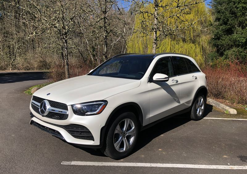PMG PHOTO: JEFF ZURSCHMEIDE - You can get the well-designed Mercedes GLC 300 crossover in square-backed SUV style or — in this case — with a sporty coupe profile. All standard and optional equipment is the same.