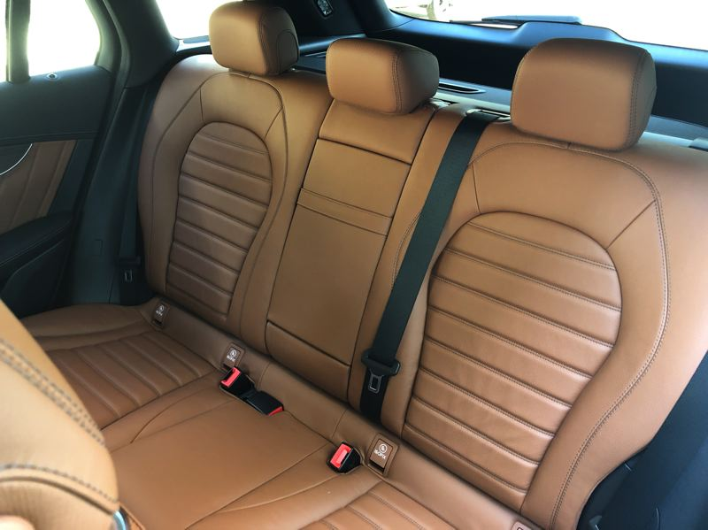 PMG PHOTO: JEFF ZURSCHMEIDE - There is enough room for three adults in the back seats of the 2020 Mercedes GLC 300.