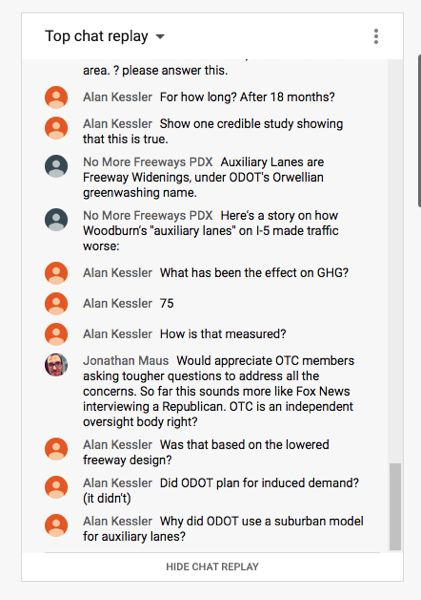 Protests flooded the comments section during a live stream of the Oregon Transportation Commission's April 2 meeting on Youtube.