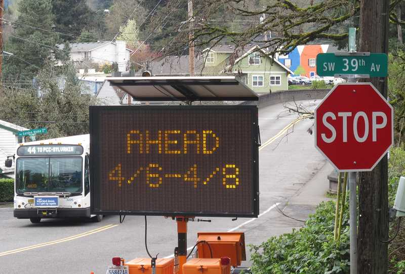 The 44 line will be subject to detours when it gets to Multnomah Village.