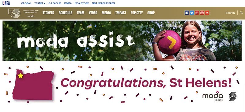 SCREENSHOT - This banner from the Portland Trail Blazers website announces St. Helens as the winner of the 2020 Moda Assist Program and the recipient of a new all-abilities program.