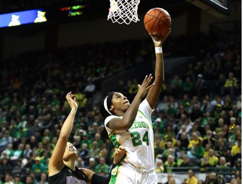 PMG PHOTO: JAIME VALDEZ - Oregon's Ruthy Hebard has been named power forward of the year for the second time.