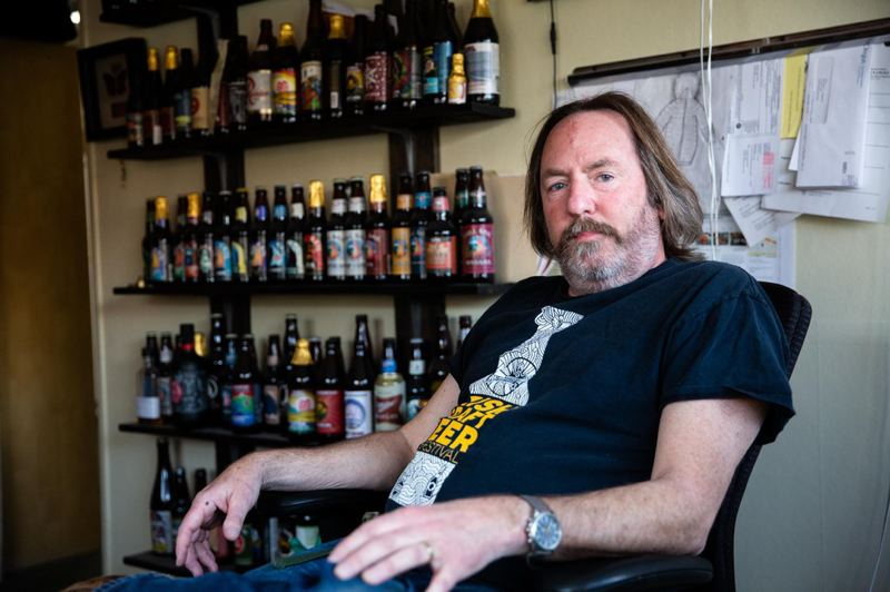 COURTESY PHOTO: BRADLEY W. PARKS/OPB - Double Mountain Brewery owner and brewmaster Matt Swihart sits for a portrait in his office in Hood River.