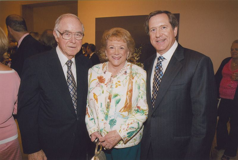 COURTESY: JORDEN SCHNITZER - (L-R) Husband and wife Harold and Arlene Schnitzer and their son Jordan, photographed together in the last decade. Jordan said his mom prefered to die at home in her own bed rather than going to the hospital and not have visitors. Her death was not related to COVID-19. Jordan Schnitzer was with her until her last breath, and says she left a great legacy of friendhip, family ties, philanthropy and love of the arts. Arlene Schnitzer died age 91 on Saturday April 4, 2020.