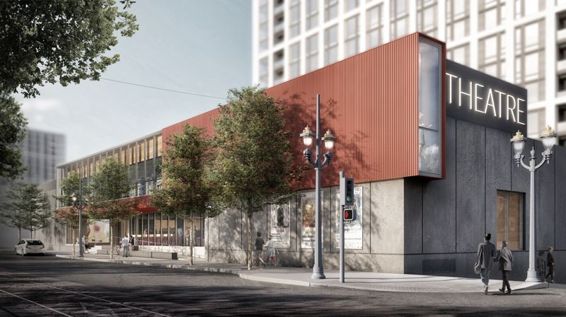 COURTESY PHOTO: ARTISTS REPERTORY THEATRE - The new theater and building at Artists Repertory Theatre could be open by fall 2021. Demolition on the inside could start in late April; the apartment complex project next door has also started.