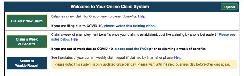COURTESY: DEPARTMENT OF EMPLYMENT - Claiming unemployment  in Oregon is a slow process on an old website with a shortage of staff and phone lines. Officials say that will change soon as they hire more clerks and add a dashboard to the interface.