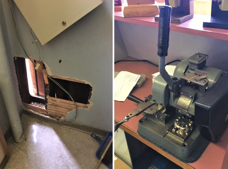 PPB PHOTOS - The hole used to gain entry during a recent commercial burglary in Portland, shown at left, plus a similar machine to the one that was stolen.