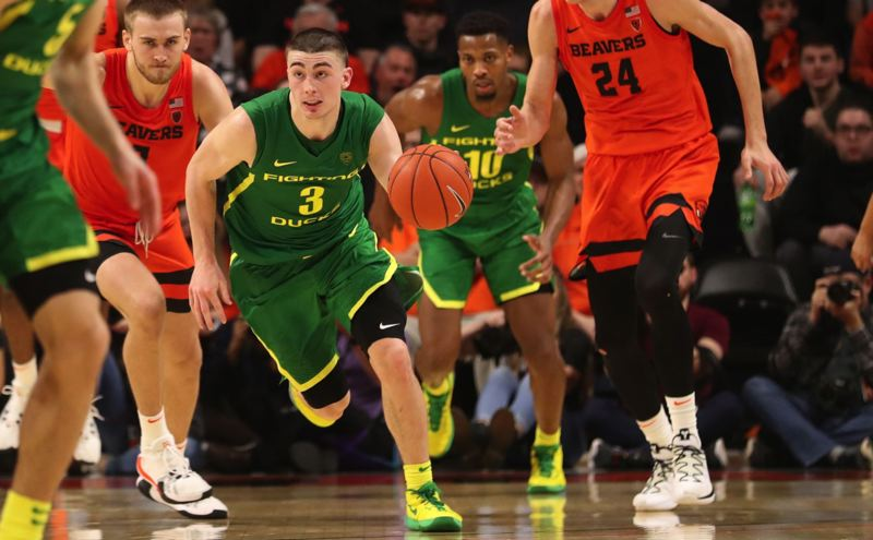 PMG PHOTO: JAIME VALDEZ - Oregon's Payton Pritchard (3)won the Bob Cousy Point Guard of the Year Award, which was announced Tuesday.