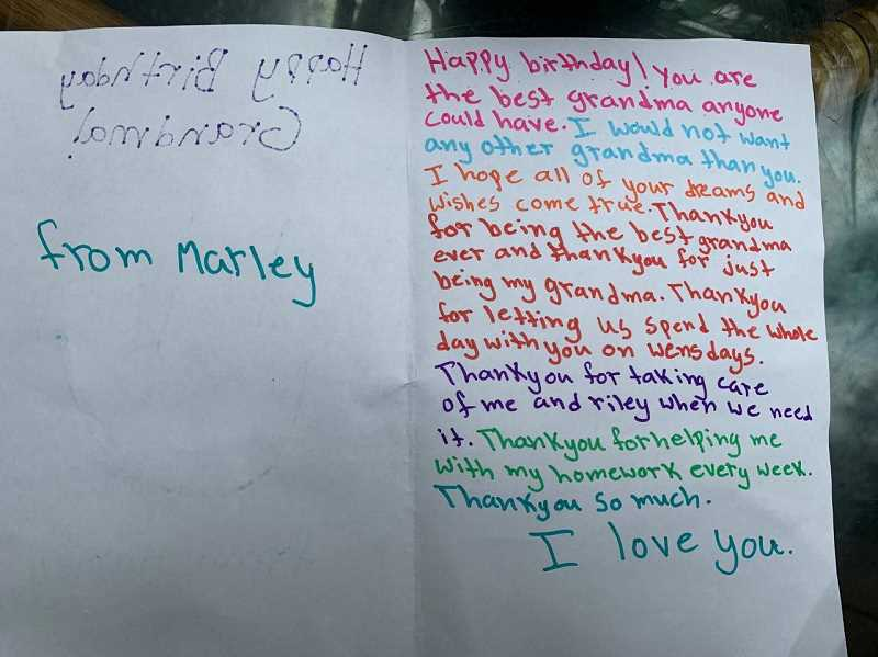 COURTESY PHOTO: SUZY SIVYER - Suzy Sivyer received homemade birthday cards from her friend's children.