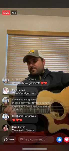 COURTESY PHOTO: SUZY SIVYER - Suzy Sivyer's son also surprised her with a live virtual concert by local singer Nate Botsford.