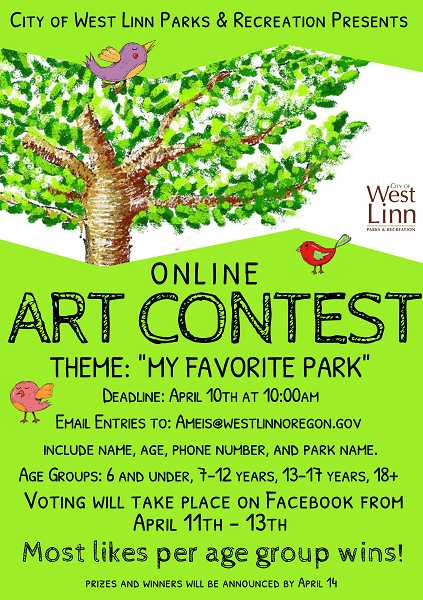 COURTESY PHOTOS  - All ages are invited to enter the My Favorite Park art contest. The winner will be selected April 14.