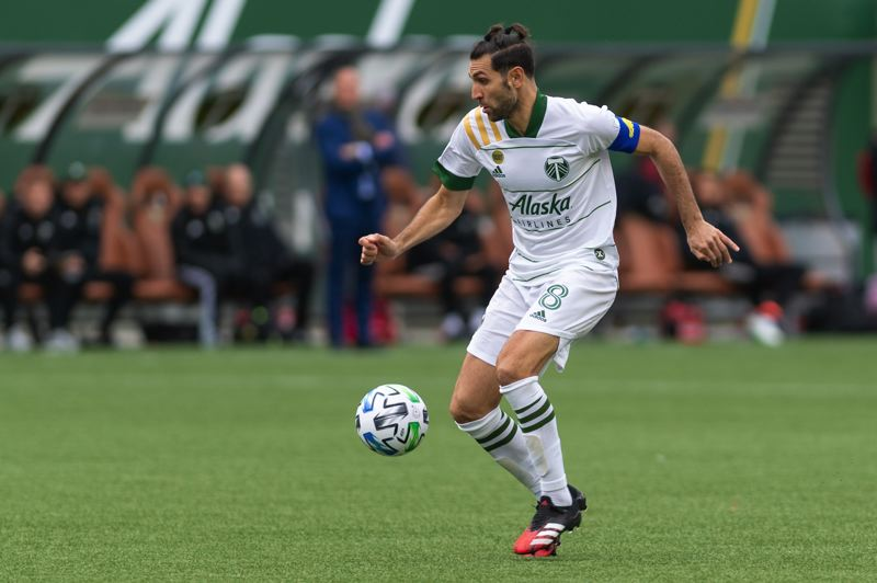 PMG PHOTO: CHRISTOPHER OERTELL - Timbers captain Diego Valeri dribbles the ball during the last gane the team played, a 1-0 win over Nashville SC on March 8.