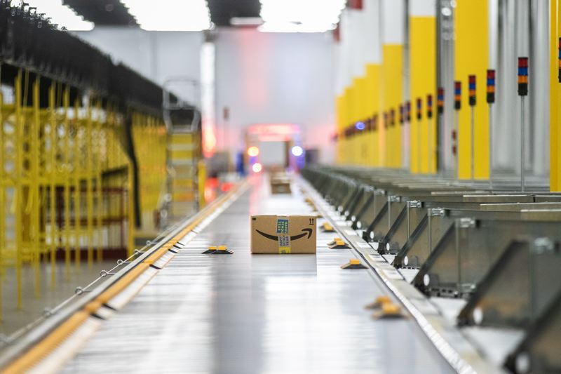 PMG PHOTO: JONATHAN HOUSE - A package is sorted and ready to be shipped at the Amazon Robotics Fulfillment Center in Troutdale. Amazon plans to hire more people at its Salem facility.