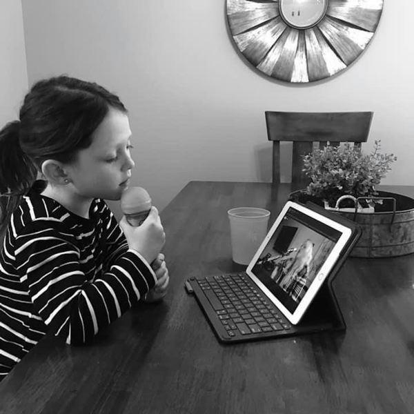 COURTESY PHOTO - A young fan sings along to one of Jessie Leigh's online concerts.